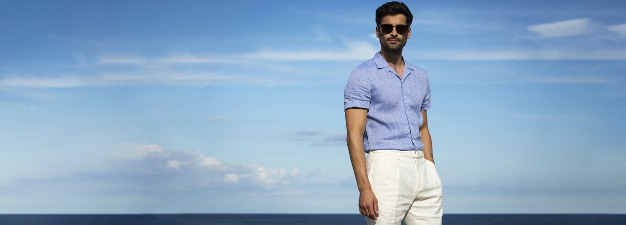 Man wearing short sleeved Stenströms linen shirt