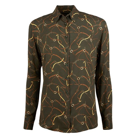 Siri Shirt Viscose Printed Bridle Green