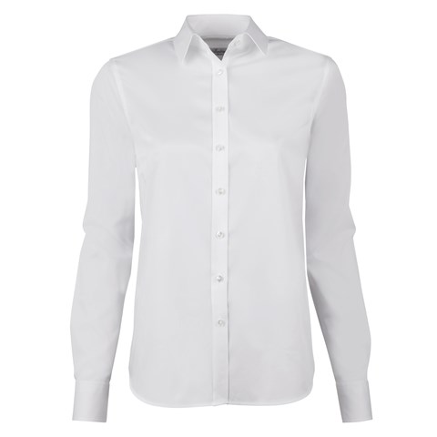 White Classic Shirt In Satin Stretch