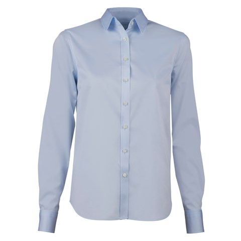 Light Blue Classic Shirt In Satin Stretch