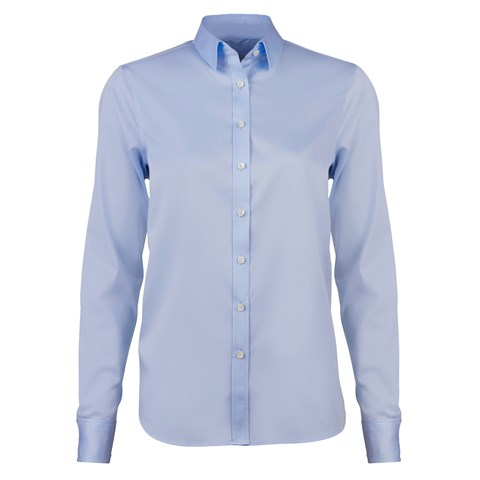 Blue Classic Shirt In Satin Stretch