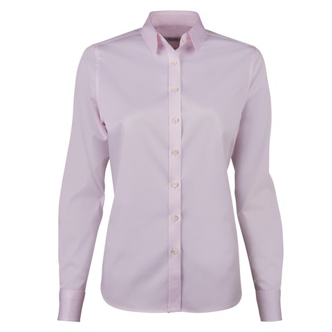 Light Pink Classic Shirt In Satin Stretch