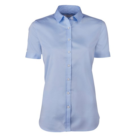 Blue Feminine Shirt With Short Sleeves
