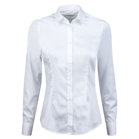 White Feminine Shirt In Satin Stretch