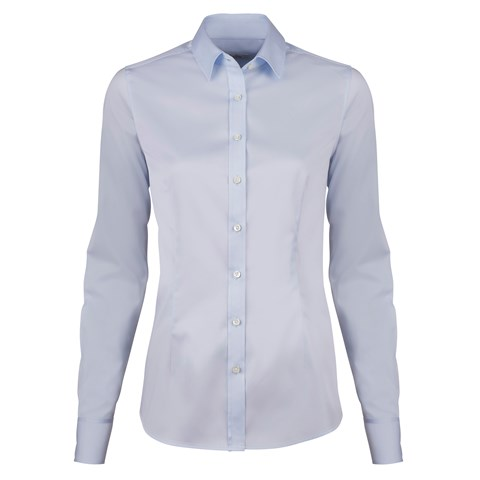 Light Blue Feminine Shirt In Satin Stretch