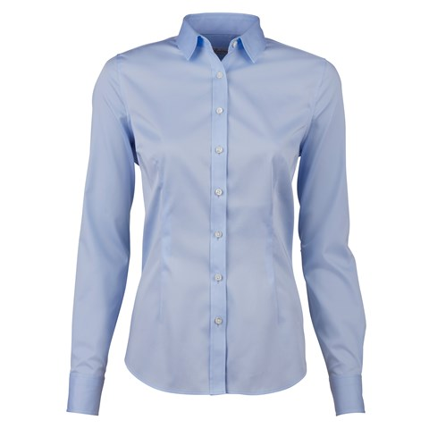 Blue Feminine Shirt In Satin Stretch