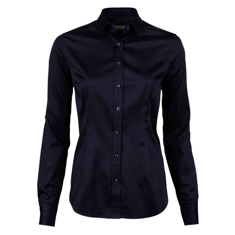 Navy Feminine Shirt In Satin Stretch