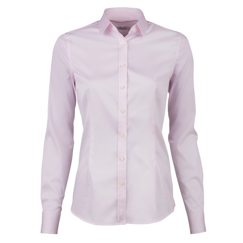 Light Pink Feminine Shirt In Satin Stretch