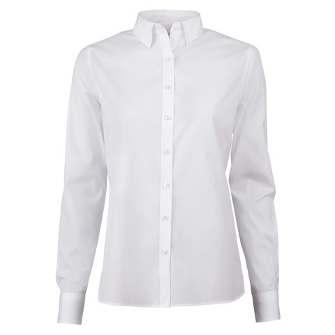White Feminine Shirt In Poplin Stretch