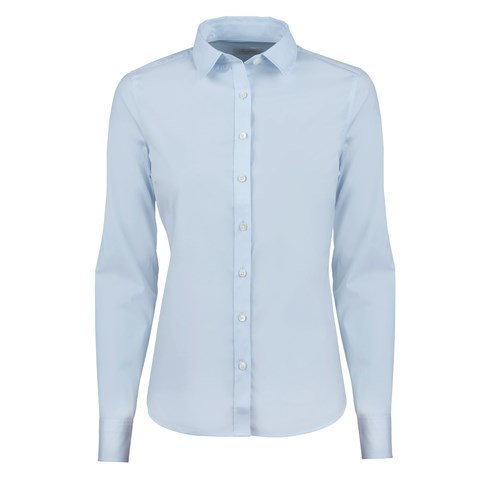 Light Blue Feminine Shirt In Poplin Stretch