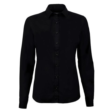 Black Feminine Shirt In Poplin Stretch