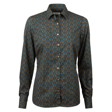 Blue Medallion Patterned Feminine Shirt