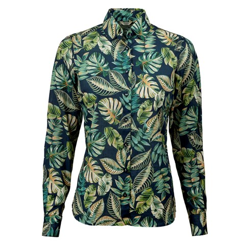 Leaf Patterned Feminine Shirt