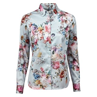 Light Blue Floral Feminine Shirt