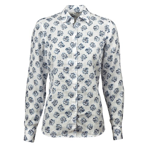 Flower Patterned Feminine Linen Shirt
