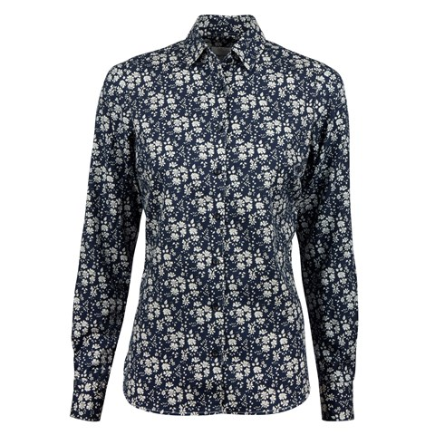 Navy Floral Cotton Wool Feminine Shirt