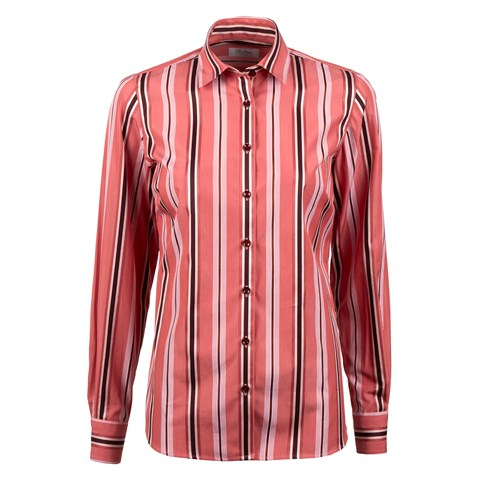 Pale Red Striped Feminine Shirt