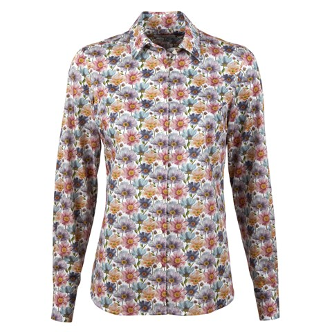 Sofie Feminine Shirt Colorful Flower Pattern
