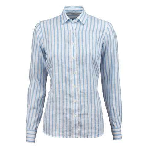 Light Blue Striped Feminine Blouse