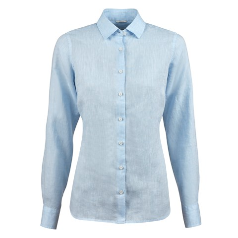Light Blue Linen Feminine Shirt