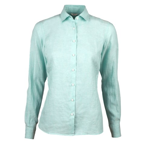 Light Turquoise Linen Feminine Shirt