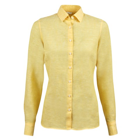 Yellow Linen Feminine Shirt