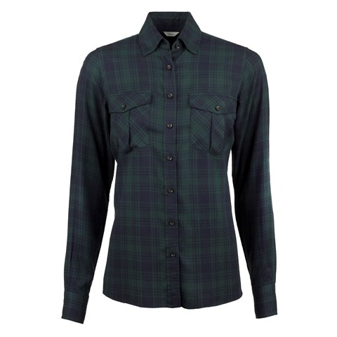 Green/Navy Check Feminine Shirt