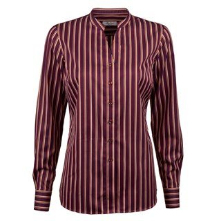 Plum Striped Feminine Blouse With Open Collar
