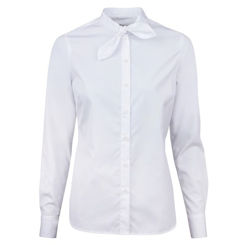 White Feminine Shirt With Short Bow