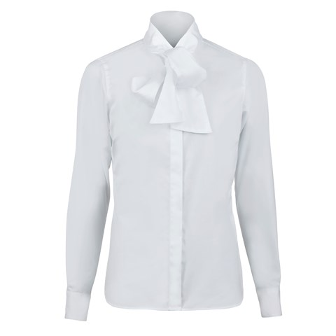 White Feminine Shirt With Bow Collar