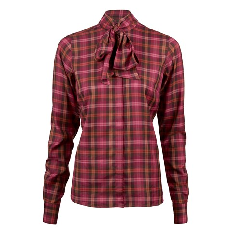 Purple Check Feminine Blouse With Bow Collar
