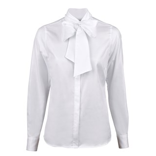 White Micro Patterned Feminine Blouse With Bow Collar