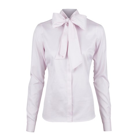 Pink Micro Patterned Feminine Blouse With Bow Collar