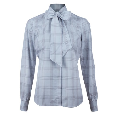 Grey Checkered Bow Blouse