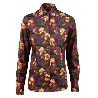 Flower Patterned Feminine Shirt, Penny Collar