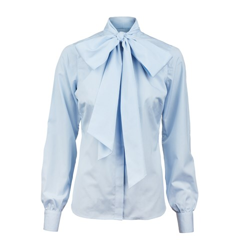 Light Blue Striped Feminine Shirt With Bow
