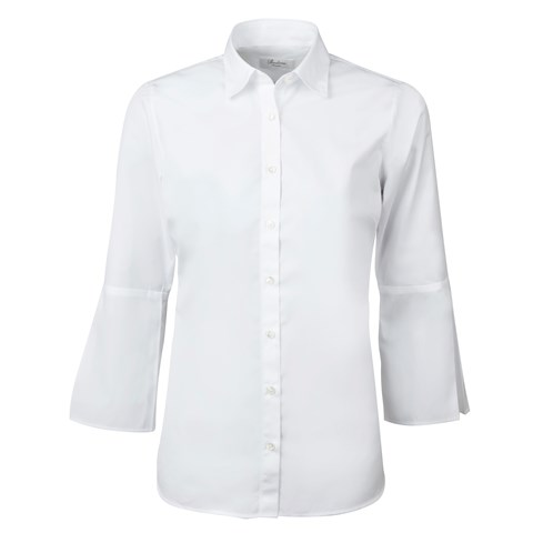 White Feminine Shirt With Flared Cuffs