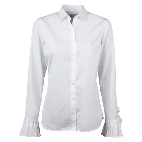 White Feminine Shirt with Pleated Cuffs