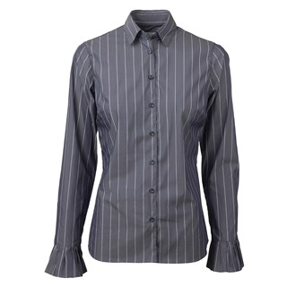 Striped Feminine Shirt With Pleated Cuffs