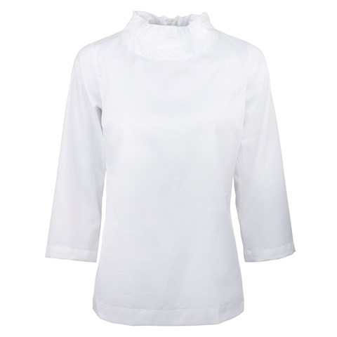 White Feminine Blouse With Chimney Collar