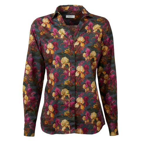 Flower Patterned Feminine Shirt, V-neck