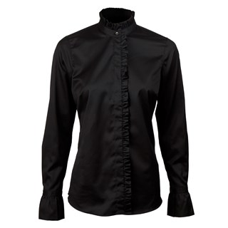Black Feminine Blouse With Frill Details