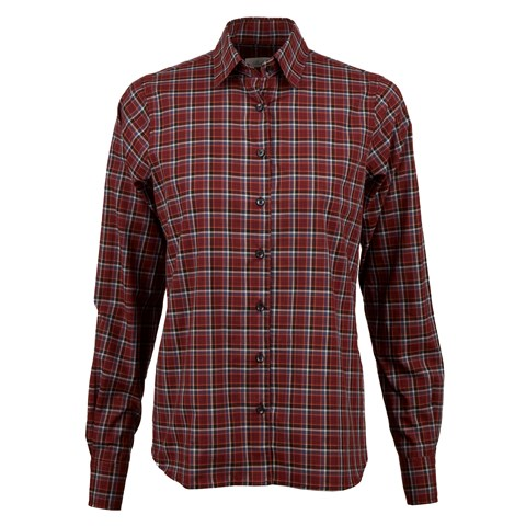 Red Check Feminine Shirt With Back Pleats
