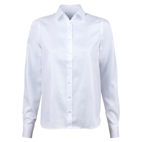 White Feminine Shirt With Back Pleats