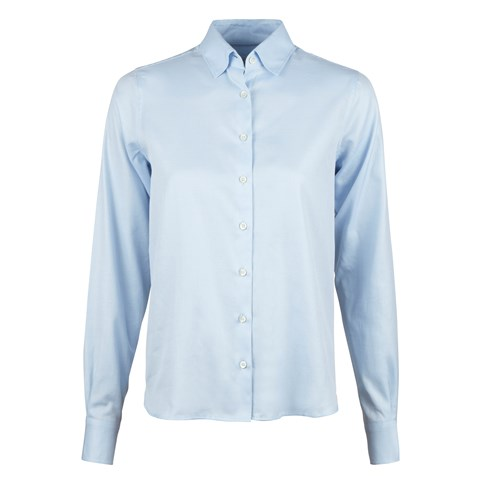 Light Blue Feminine Shirt With Back Pleats
