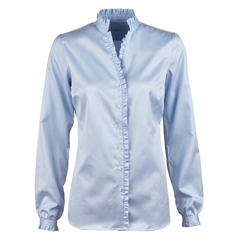 Blue Feminine Blouse With Frill Details