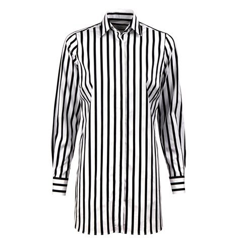 Black & White Striped Feminine Long Shirt