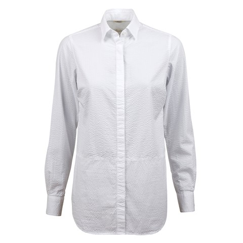 White Feminine Seersucker Shirt