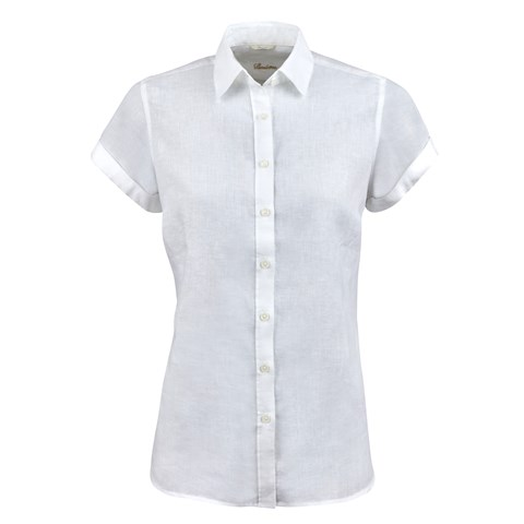 White Feminine Linen Shirt, Short Sleeves
