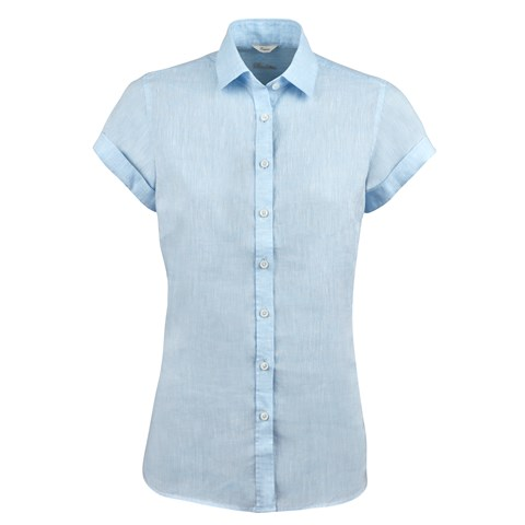Light Blue Feminine Linen Shirt, Short Sleeves